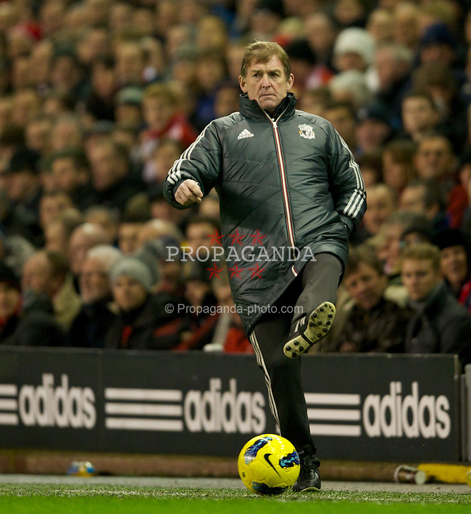 LIVERPOOL, ENGLAND - Monday, February 6, 2012: Liverpool's manager Kenny Dalglish in action against Tottenham Hotspur during the Premiership match at Anfield. (Pic by David Rawcliffe/Propaganda)