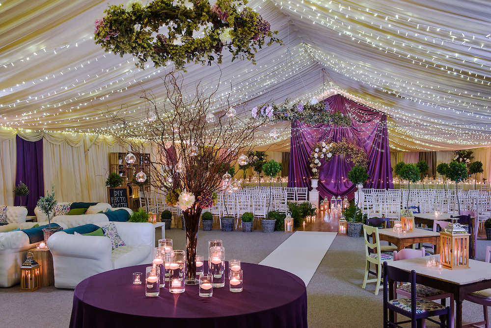 The Lodge at Carfraemills wedding marquee styled by wedding planning and prop hire company 'Get Knotted'. The company, run by Lindsey Hunter from her base in the Scottish Borders, can design, style organise and provide all the props and items needed for a wedding.<br />