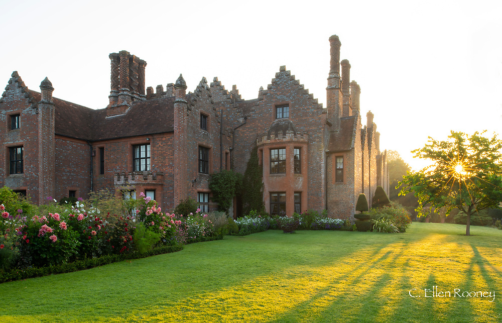 A September sunrise at Chenies Manor House during the Dahlia Festival.  Chenies, Rickmansworth, Buckinghamshire, UK