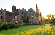 A September sunrise at Chenies Manor House during the Dahlia Festival.  Chenies, Rickmansworth, Buckinghamshire, UK