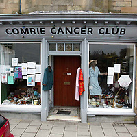 David Robertson...10.5.2002.  Attn: Daily Mail Pix.<br />The Comrie Cancer Club shop in the centre of the Perthshire village.<br /><br />Picture by John Lindsay .<br />COPYRIGHT: Perthshire Picture Agency.<br />Tel. 01738 623350 / 07775 852112.