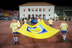 NOVI SAD, SERBIA - Tuesday, September 11, 2012: Mascots with a FIFA Fair Play flag before the 2014 FIFA World Cup Brazil Qualifying Group A match between Serbia and Wales at the Karadorde Stadium. (Pic by David Rawcliffe/Propaganda)