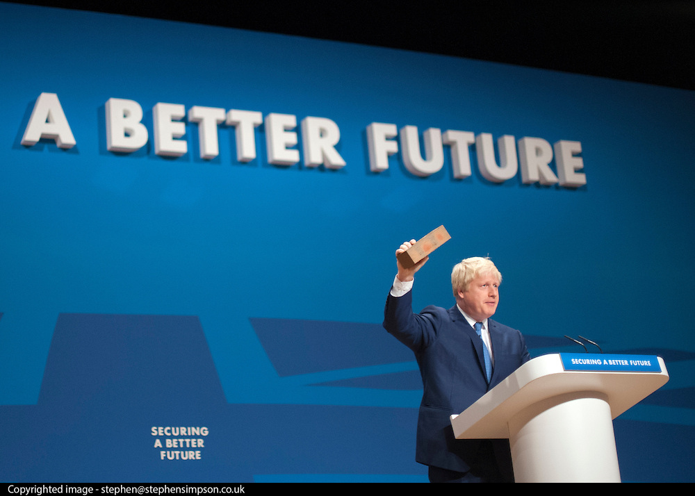 © Licensed to London News Pictures. 30/09/2014. Birmingham, UK. Boris Johnson delivers his Mayor of London Speech.  The Conservative Party Conference in Birmingham 30th September 2014. Photo credit : Stephen Simpson/LNP