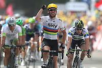 CYCLING - TOUR DE FRANCE 2012 - STAGE 2 - Visé > Tournai (207 km)  - 02/07/2012 - PHOTO MANUEL BLONDEAU / DPPI - SKY PROCYCLING TEAMRIDER MARK CAVENDISH OF GREAT BRITAIN