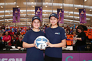ANZ Future Captains Anahera Mason-Wells aged 14 and Tatiana Mason-Wells aged 13 pose for a photo prior to the match. 2018 ANZ Premiership netball match, Stars v Steel at Pulman Arena, Auckland, New Zealand. 29 July 2018 © Copyright Photo: Anthony Au-Yeung / www.photosport.nz