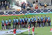 Blackcaps during national anthem during the ICC Cricket World Cup match between New Zealand and Scotland at university oval in Dunedin, New Zealand. Photo: Richard Hood/photosport.co.nz