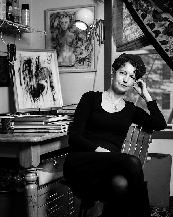 A portrait of the painter Kathleen Hurley-Liao in her studio in Hightstown, New Jersey.