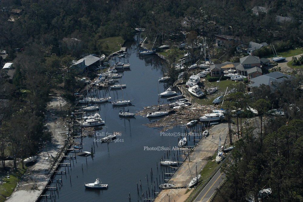Aerial view of boats blown out of the water by Hurricane Katrina when it pummelled the Mississippi Gulf Coast, pictured is Pass Christian Mississippi the morning after Hurricane Katrina Aug. 30, 2005.©SUZI ALTMAN PHOTOGRAPHER www.suzisnaps.com .cell phone 601-668-9611.