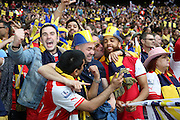 Arsenal fans after the win during the The FA Cup match between Arsenal and Aston Villa at Wembley Stadium, London, England on 30 May 2015. Photo by Phil Duncan.