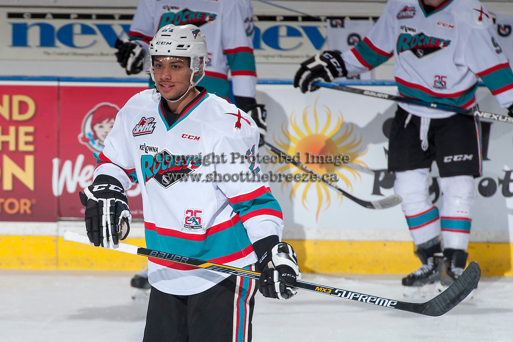 KELOWNA, CANADA - MARCH 25: Devante Stephens #21 of Kelowna Rockets warms up against the Kamloops Blazers on March 25, 2016 at Prospera Place in Kelowna, British Columbia, Canada.  (Photo by Marissa Baecker/Shoot the Breeze)  *** Local Caption *** Devante Stephens;