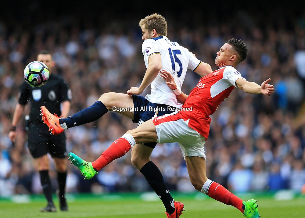 April 30th 2017, White Hart Lane, Tottenham, London England; EPL Premier League football Tottenham Hotspur versus Arsenal; Kieran Gibbs of Arsenal challenges Eric Dier of Tottenham Hotspur