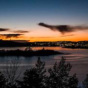 Sunset over Kristiansand seen from east side Søm.