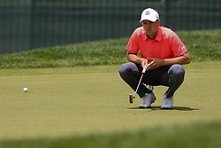 June 22, 2018 - Cromwell, Connecticut, United States - Jordan Spieth lines up a putt on the 8th green during the second round of the Travelers Championship at TPC River Highlands. (Credit Image: © Debby Wong via ZUMA Wire)