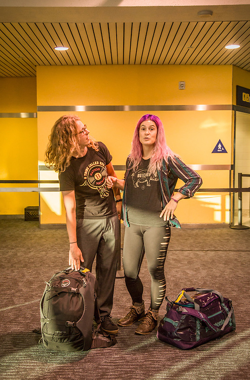 """""""Every person should have affordable accessible compassionate abortion services."""" -Reproductive Justice Activist Lizzie Jekanowski with lighting designer, Ira Mead, at the Oakland International Airport."""