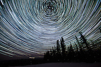 Star trails and northern lights just outside of the arctic circle near Fairbanks, Alaska. March 21, 2012.