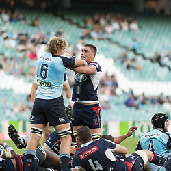 Toby Smith of the Melbourne Rebels and Ned Hanigan of the Waratahs during the super rugby match between Waratahs and the Rebels Allianz Stadium 21 May 2017(Photo by Mario Facchini -Steve Haag Sports)