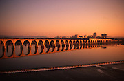 Sunset, Susquehanna River, Railroad Bridge Arches, Harrisburg Skyine, Pennsylvania