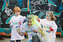 Repro Free: 12/05/2014 Dublin <br /> Fair City&rsquo;s Mondo actor George McMahon is pictured getting colourfull with the help of Douglas (5) and Alexandra Kelly (4) from Stepaside, Dublin as the Irish Cancer Society and Crown call on people to add some colour to their lives and sign up today to take part in the Irish Cancer Society&rsquo;s Colour Dash. Together, we won&rsquo;t give up until cancer does. To register for your place CallSave our team on 1850 60 60 60 or visit www.cancer.ie 