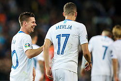 Miha Zajc of Slovenia and Miha Mevlja of Slovenia during football match between National teams of Slovenia and North Macedonia in Group G of UEFA Euro 2020 qualifications, on March 24, 2019 in SRC Stozice, Ljubljana, Slovenia. Photo by Matic Klansek Velej / Sportida