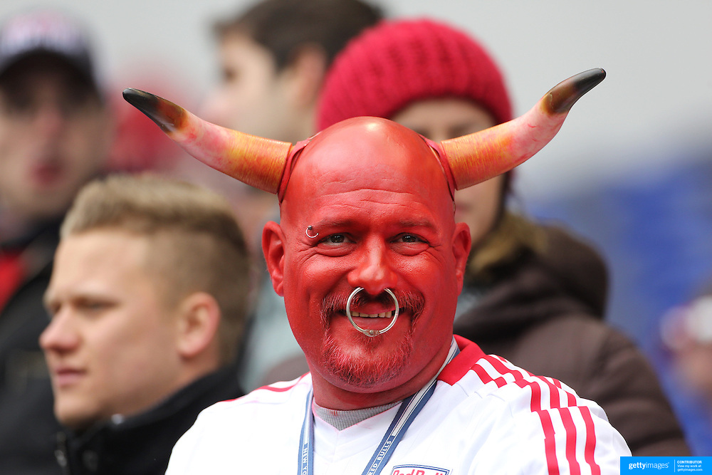 New York Red Bull fan John Russ, known as Johnny Toro  on match days when dressed for the game, in action during the New York Red Bulls V D.C. United, Major League Soccer regular season match at Red Bull Arena, Harrison, New Jersey. USA. 16th March 2013. Photo Tim Clayton
