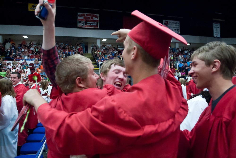 Lathan Goumas | MLive.com..Graduates celebrate at the end of the 2012 Swartz Creek High School commencement ceremony at the Perani Arena in Flint, Mich. on Tuesday June 12, 2012.