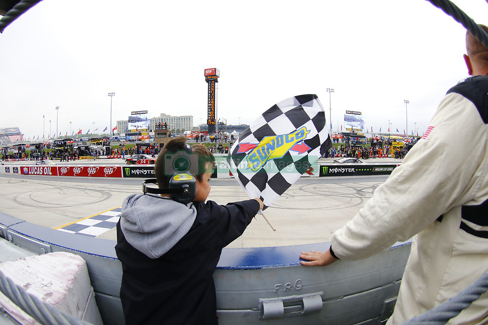 May 6, 2018 - Dover, Delaware, United States of America - A NASCAR official and a young fan hand the checkered flag to Kevin Harvick (4) after he wins the AAA 400 Drive for Autism at Dover International Speedway in Dover, Delaware. (Credit Image: © Chris Owens Asp Inc/ASP via ZUMA Wire)