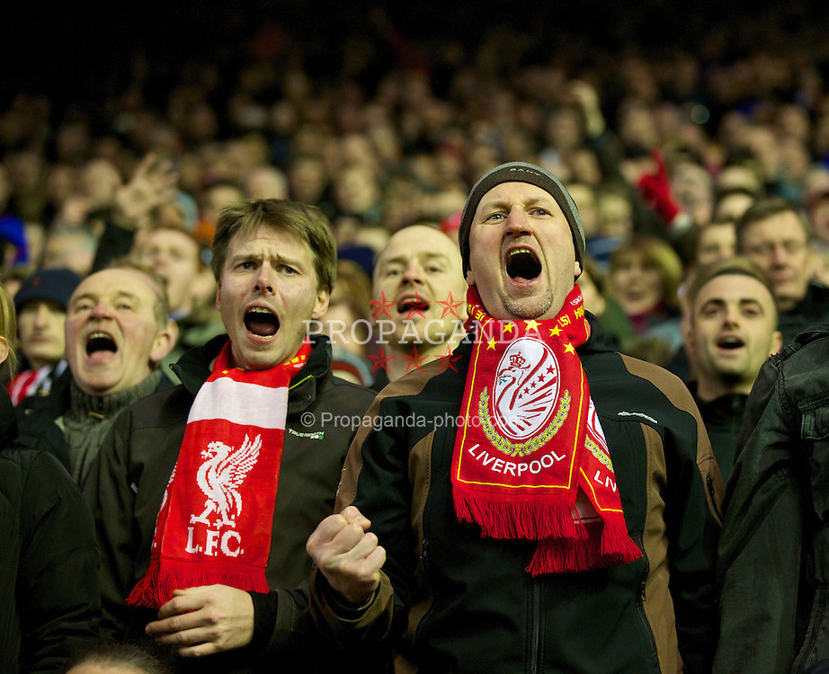 LIVERPOOL, ENGLAND - Wednesday, March 26, 2014: Liverpool supporters cheer their side on to victory over Sunderland during the Premiership match at Anfield. (Pic by David Rawcliffe/Propaganda)