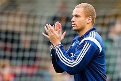 Sunderland's Wes Brown acknowledges the away support ahead of the FA Cup 5th Round tie between Bradford City and Sunderland - Photo mandatory by-line: Matt McNulty/JMP - Mobile: 07966 386802 - 15/02/2015 - SPORT - Football - Bradford - Valley Parade - Bradford City v Sunderland - FA Cup - Fifth Round