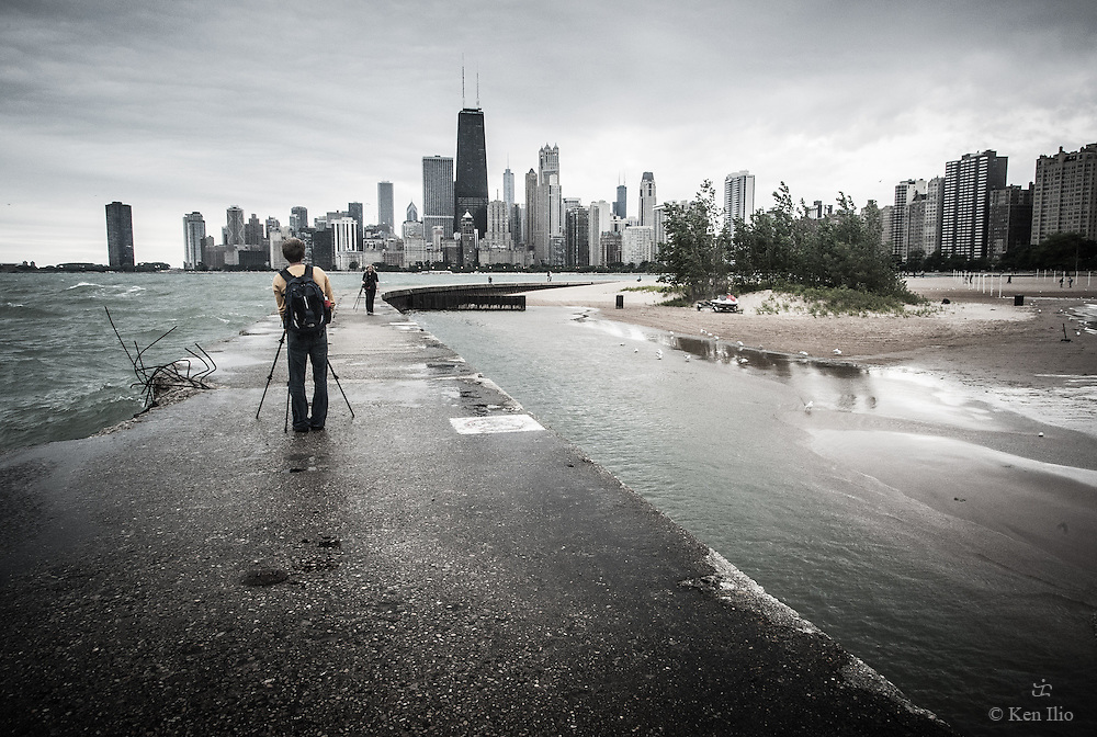 Photographers on the groin at North Ave. Beach in the Gold Coast Community of Chicago