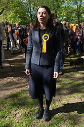 © Licensed to London News Pictures. 19/04/2017. London, UK. Liberal Democrat MP SARAJ OLNEY speaks to the media at a rally in Richmond in response the announcement of the General Election on June 8th 2017. Photo credit: Ray Tang/LNP