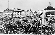 Crowd in Moscow celebrating the abolition of serfdom in Russia by Alexander II, 1860s. The Emancipation Manifesto, 1861 applied only to privately owned serfs, stated owned serfs were freed in 1866. Photograph