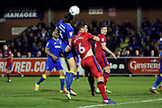 AFC Wimbledon defender Paul Robinson (6) beating Rochdale defender Harrison McGahey (6) to the ball during the EFL Sky Bet League 1 match between AFC Wimbledon and Rochdale at the Cherry Red Records Stadium, Kingston, England on 28 March 2017. Photo by Matthew Redman.
