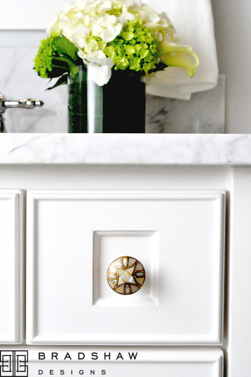 MONTE VISTA BATH AFTER - DETAILS INCLUDE MOTHER OF PEARL KNOBS AND BEADED EDGE DETAILS ON CABINET