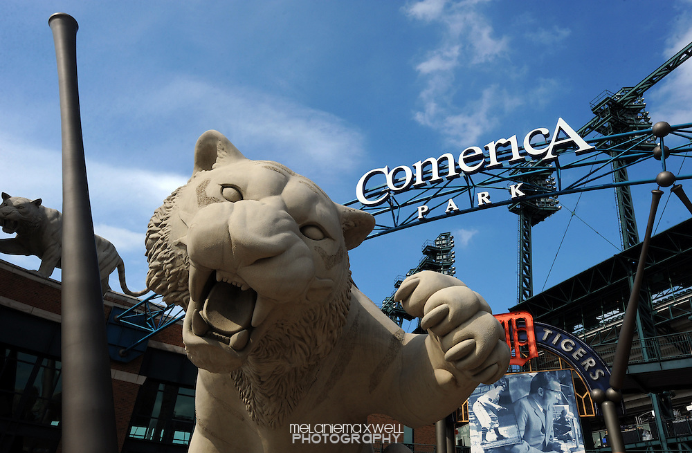 Large tiger statue guarding the front entrance gate to Comerica Park in Detroit, Michigan on June 15, 2010.