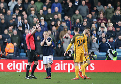 Shane Ferguson of Millwall is shown a red card - Mandatory by-line: Arron Gent/JMP - 17/03/2019 - FOOTBALL - The Den - London, England - Millwall v Brighton and Hove Albion - Emirates FA Cup Quarter Final