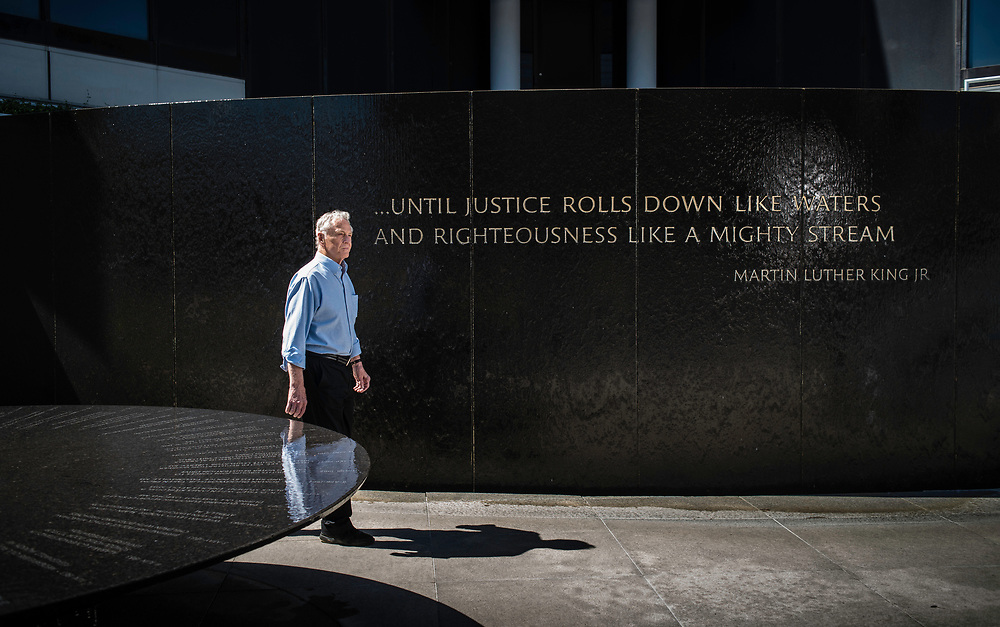 MONTGOMERY, AL -- 5/25/17 -- Even at age 80, Morris Dees still comes into the office daily. The attorney has made a career taking down racist organizations and hate groups over the years, and has created an infrastructure to continue that work well into the future. Dees stands in front of the Civil Rights Memorial, commissioned by the SPLC and dedicated in 1989,<br /> Civil Rights attorney Morris Dees co-founded the Southern Poverty Law Center in 1971. The group has taken on the Ku Klux Klan and fought for against hate for decades, but is now facing criticism that it has labeled some groups without just cause..&hellip;by Andr&eacute; Chung #_AC29749
