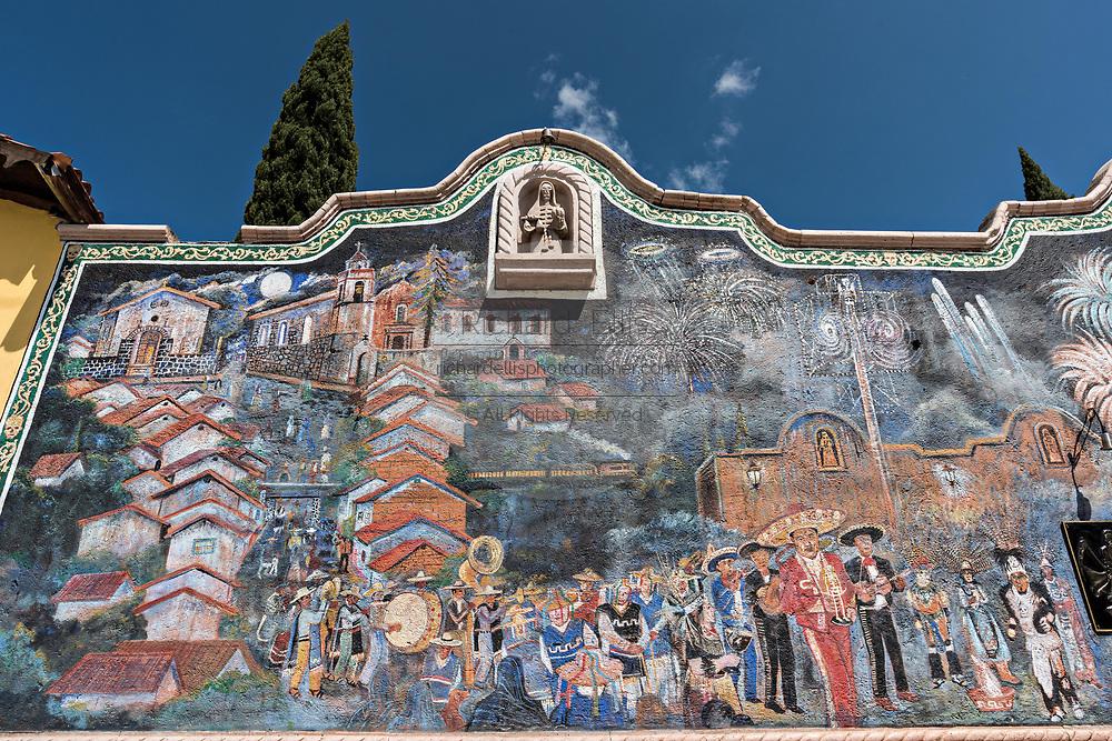 Outside mural at the La Casa De La Santa Muerte or House of the Saint of the Dead November 1, 2017 in Santa Ana Chapitiro, Michoacan, Mexico.