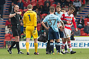 2nd yellow & red card for Doncaster Rovers Midfielder Matty Blair (17) during the EFL Sky Bet League 2 match between Doncaster Rovers and Blackpool at the Keepmoat Stadium, Doncaster, England on 17 April 2017. Photo by Craig Zadoroznyj.