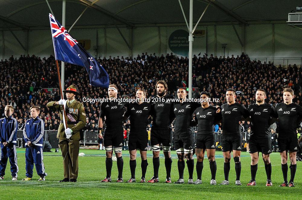 Flag Bearer during the Investec Rugby Championship match, All Blacks v South Africa ,AMI Stadium, Christchurch, New Zealand, 17th September 2016. © Copyright Photo: John Davidson / www.photosport.nz