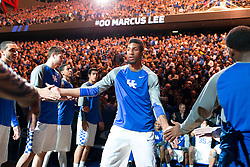 Kentucky forward Marcus Lee is announced during player introductions before the game.<br /> <br /> The University of Kentucky hosted the University of Georgia, Tuesday, Feb. 09, 2016 at Rupp Arena in Lexington .