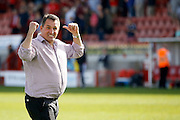 Barnet FC Manager Martin Allen gives the away fans a thumbs up after their 3-0 victory during the Sky Bet League 2 match between Crawley Town and Barnet at the Checkatrade.com Stadium, Crawley, England on 7 May 2016. Photo by Andy Walter.