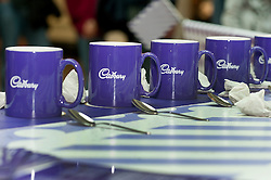 Cadburys Spots vs Stripes Challenge Race Season Meadowhall Sheffield.fastest tea maker challenge.2 April 2011.Images © Paul David Drabble