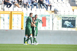 October 21, 2017 - Pescara, Abruzzo, Italy - Soufiane Bidaoui (C) of Avellino celebrates a his goal of 0-1 during serie B match between Pescara Calcio 1936 and Avellino in Pescara, Italy, on October 21, 2017. (Credit Image: © Federica Roselli/NurPhoto via ZUMA Press)