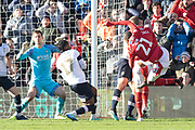 Samba Sow has a shot during the EFL Sky Bet Championship match between Nottingham Forest and Luton Town at the City Ground, Nottingham, England on 19 January 2020.