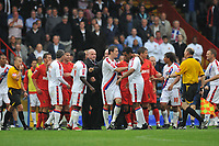 Photo: Tony Oudot/Richard Lane Photography.  Crystal Palace v Watford. Coca-Cola Championship. 09/08/2008. <br /> Officials calm down players after a brawl between both teams