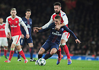 Football - 2016 / 2017 UEFA Champions League - Group A: Arsenal vs. Paris Saint-Germain<br /> <br /> Olivier Giroud of Arsenal and Marco Verratti of PSG  at The Emirates.<br /> <br /> COLORSPORT/ANDREW COWIE