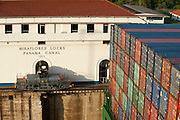 Detail of containers in cargo ship at Miraflores Locks. Panama Canal, Panama City, Panama, Central America.