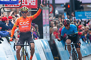 Greg Van Avermaet of CCC Pro Team wins stage 4 & Chris Lawless of Team Ineos celebrates as he wins the overall classification of the 2019 Tour De Yorkshire during stage four of the Tour de Yorkshire from Halifax to Leeds, , United Kingdom on 4 May 2019.