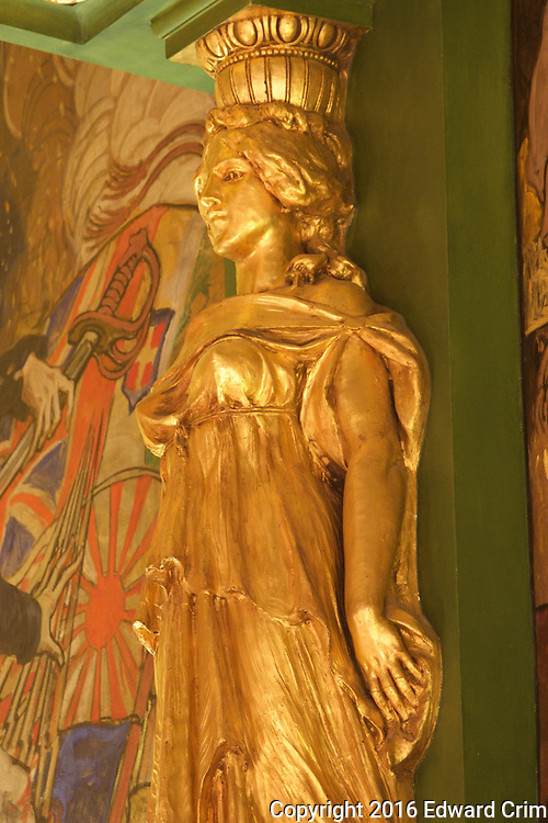 Closeup of a caryatid atop a pilaster on the north wall of the Senate chamber of the Pennsylvania capitol in Harrisburg.