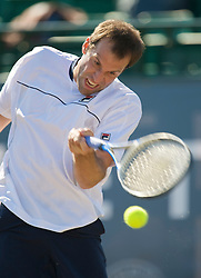 NOTTINGHAM, ENGLAND - Thursday, June 11, 2009: Greg Rusedski (GBR) in action on day one of the Tradition Nottingham Masters tennis event at the Nottingham Tennis Centre. (Pic by David Rawcliffe/Propaganda)